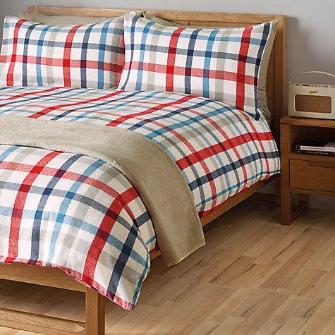 Buy John Lewis Alpine Check Brushed Cotton Duvet Cover and Pillowcase Set Online at johnlewis.com
