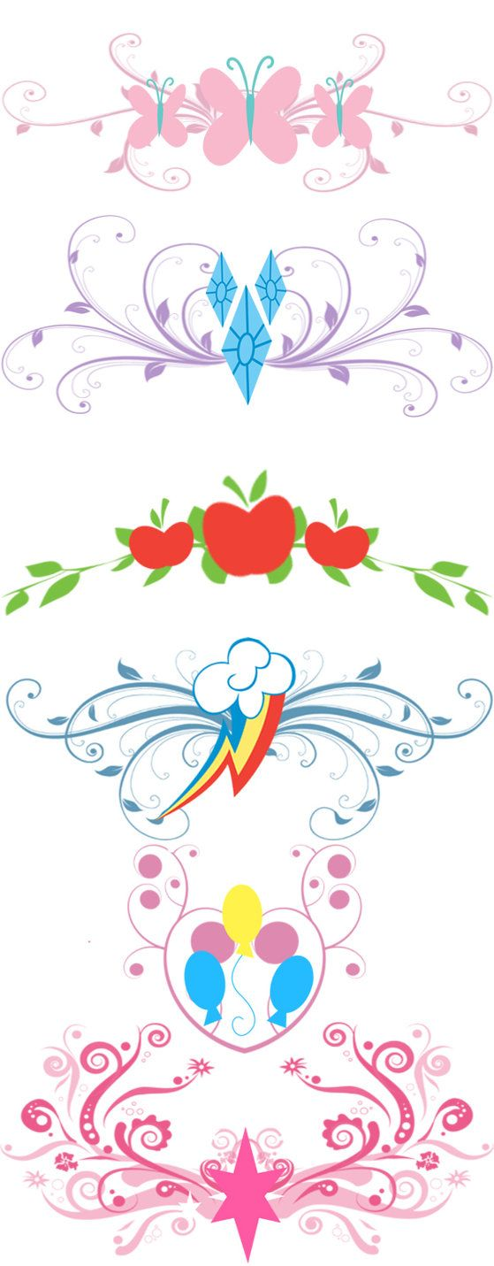 these are cute alterations to the MLP cutie marksAll cutie marks of the primary charecters in MLP