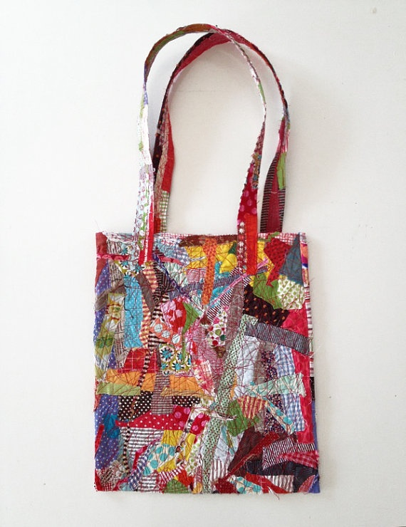 ooak Tote Shoulder Bag , Crazy Patchwork , upcycled Colorful Cotton scraps - all Handmade