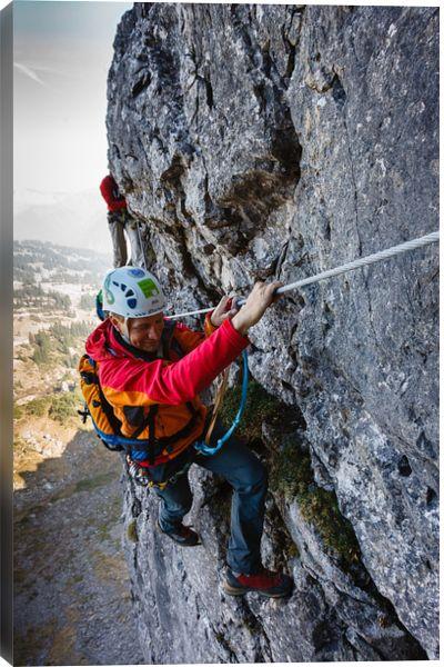 Kleinwalsertal, climber, climbing, germany, man, mountains, vertical, via ferrata, Zweiländersteig