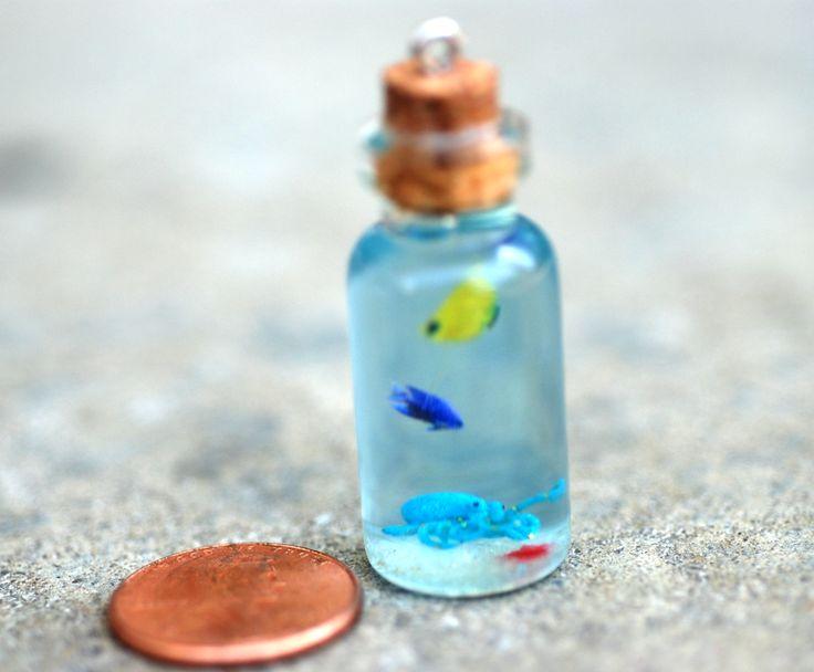 Mini Octopus Seascape Bottle charm/pendant by jen4eternity.deviantart.com on @DeviantArt