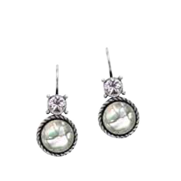 E413 Lustrous mother-of-pearl and Swarovski crystal drop earrings