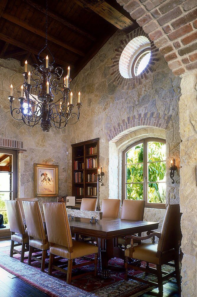 """Love the urban rustic dining area.... 'cept I'd go straight black iron on the chandelier or a clean urban one.... not into the """"frillies"""""""