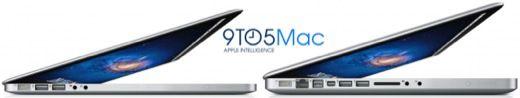 Le futur MacBook Pro (à gauche) et le modèle actuel (à droite).