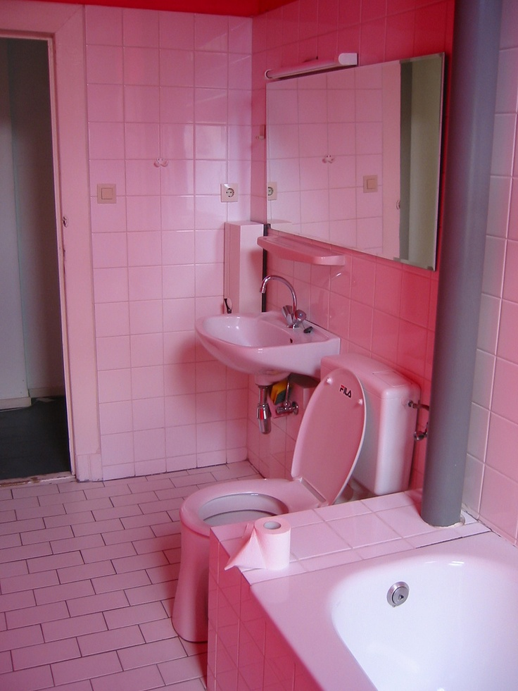 84 best horrible bathrooms images on pinterest bathroom for Pink toilet accessories