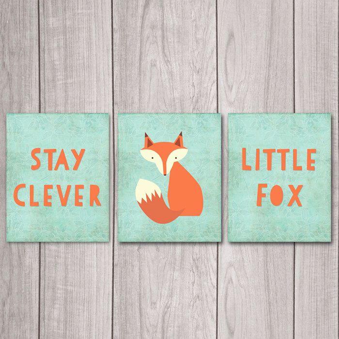 75% OFF SALE Stay Clever Little Fox (Set of 3) - 8x10 Fox Nursery Decor, Nursery Art, Nursery Decor, Woodland Nursery, Nursery Wall Decor by DreamBigPrintables on Etsy https://www.etsy.com/listing/220007803/75-off-sale-stay-clever-little-fox-set