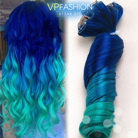 colorful clip in color customized human hair extensions