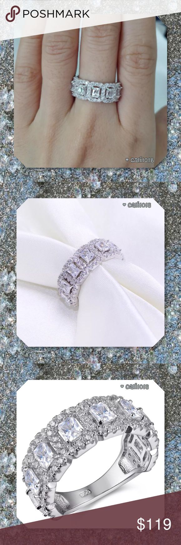 JUST IN2ct Semi Eternity Band 925 Silver Crafted from solid 925 sterling silver, Features 8 emerald cut 3*4mm AAA grade cubic zirconia and surround by 87 pcs round white cz.Top quality stones display amazing enriched clarity.   Gem Type: cubic zirconia Stone Shape: Emerald Metal Type: 925 Sterling Silver  Minimum Color: White US Size: 7  # of Stones: 96pc Dimensions: 4*3mm Weight: 5.23g Total Stone Weight: 2ct Width: 4MM Glam Squad 2 you Jewelry Rings