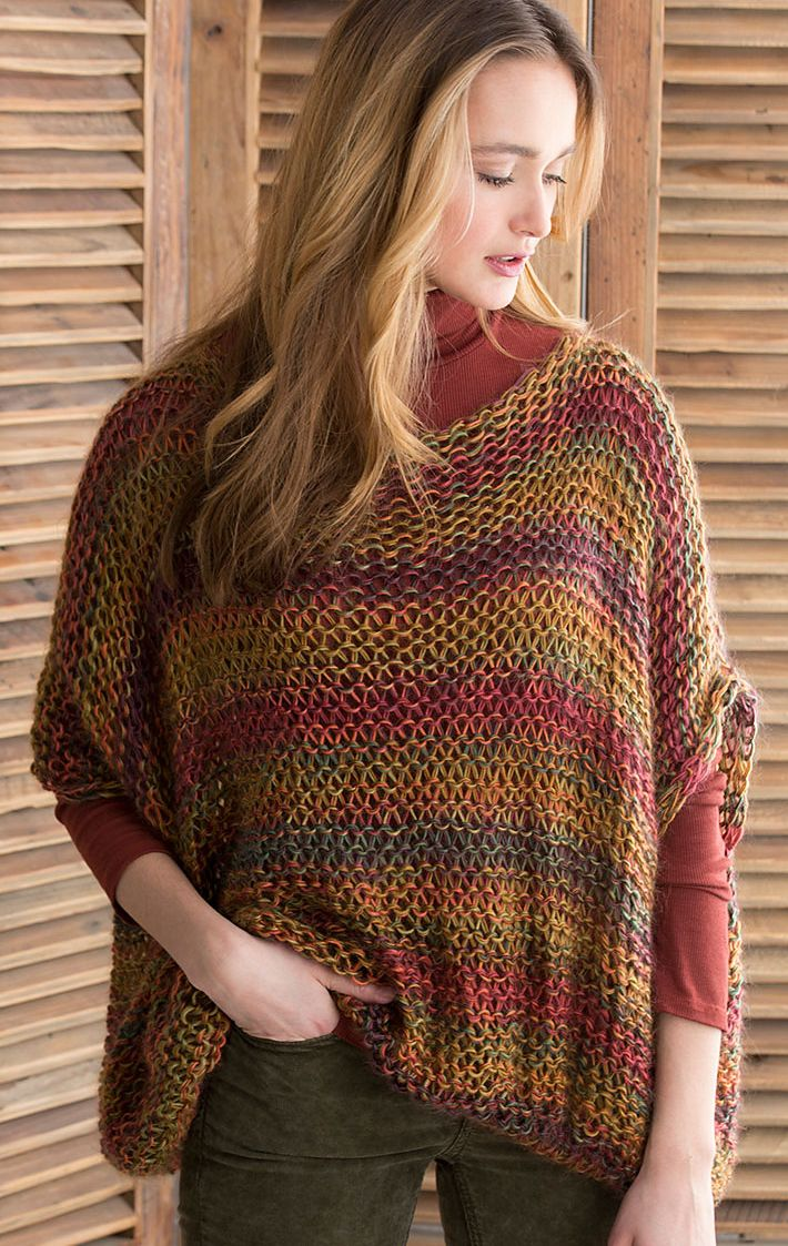 Free Knitting Pattern for Easy Relaxed Pullover - Easy sweater pattern in reverse stockinette. Great with multi-color yarn.