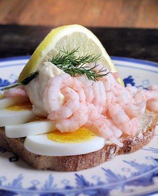Rejemad med Surbrød (Shrimp sandwich on sourdough bread) - Danish open-faced sandwich (Smørrebrød)
