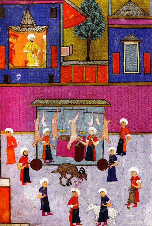 """1723- The kitchens of the Ottoman imperial palace feed thousands of people a day. This year, they go through 10,000 young sheep, 20,000 young cattle, 30,000 adult cattle, 60,000 adult sheep, & over 300,000 birds, including 3000 of a large, popular new bird from the Western Hemisphere. This delicacy will be so popular in Turkey that it will eventually be named """"turkey"""" in English."""