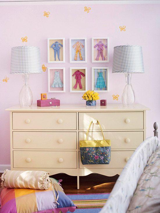 Frame Barbie clothes for little girls room.