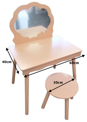 Little Girls Vanity Table and Stool - Pink