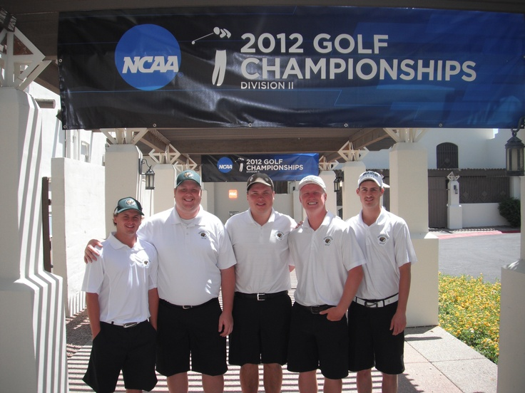 The BSU men's golf team took a quick team photo May 7, 2012 before competing in the first round of the NCAA Division II Central/West Super Regional in Litchfield Park, Ariz. (L to R): John Hafdal, Danny Menton, Casey Hill, Matt Haugstad and Andrew Benson.