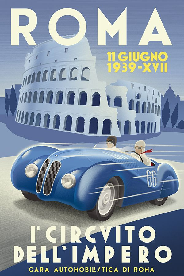 Retro style Italian car racing poster by Michael Crampton.