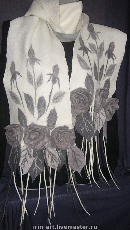 "Felted Scarf ""White Dream"" by Irina Scepalina Ярмарка Мастеров - ручная работа валяный шарф Белый сон. Handmade."