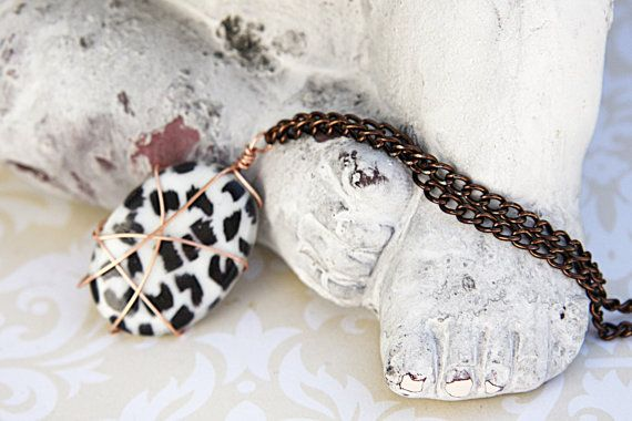 Leopard Print Stone Pendant, Animal Print Necklace, Cheetah Print Necklace, Brass Necklace, Copper Wire Pendant