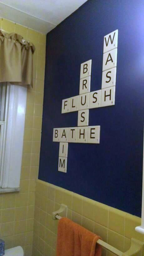 Bathroom Scrabble - Awesome!  Love the word, AIM.  Great for one of the boy's bathrooms.  Lol