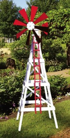 This yard windmill is designed after the farm windmills which were and still are used to pump water for livestock or to irrigate farms and ranches. Uses standard size lumber and exterior plywood for ...