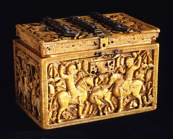 Casket, carved ivory with gilt-bronze fittings Spain, Cordoba; c. 966-96  The ivory casket belongs to a little group of masterfully carved ivory objects that were made for the Spanish Umayyad court in the second half of the 10th century. The casket is the largest in the group, carved from a single tusk. It is also one of the most monumental.