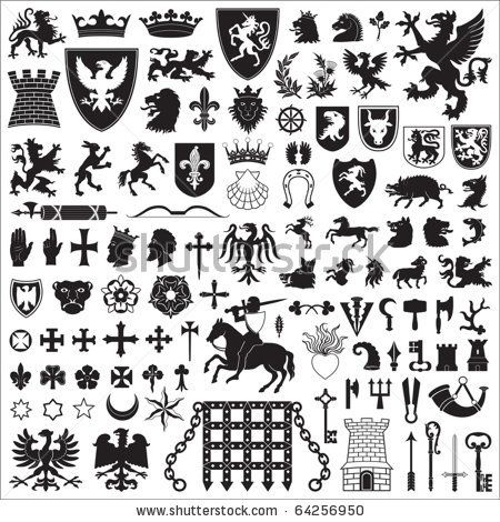 Medieval Heraldry Symbols | Heraldic Symbols And Elements Stock Vector 64256950 : Shutterstock