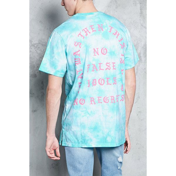 Forever21 No False Idols Tie-Dye Tee ($15) ❤ liked on Polyvore featuring men's fashion, men's clothing, men's shirts, men's t-shirts, mens crew neck t shirts, mens tie dye t shirts, mens longline t shirt, mens long sleeve shirts and mens short sleeve t shirts