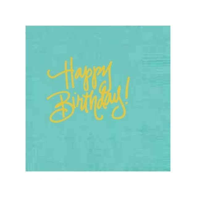 Happy Birthday Cocktail Napkins, Robin's Egg Blue