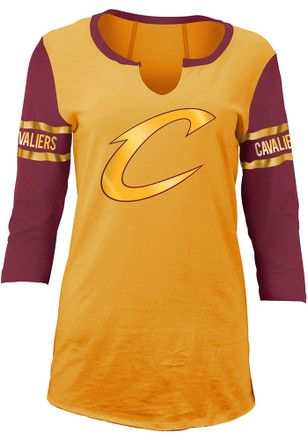 Cleveland Cavaliers Womens Gold Slub Women's V-Neck