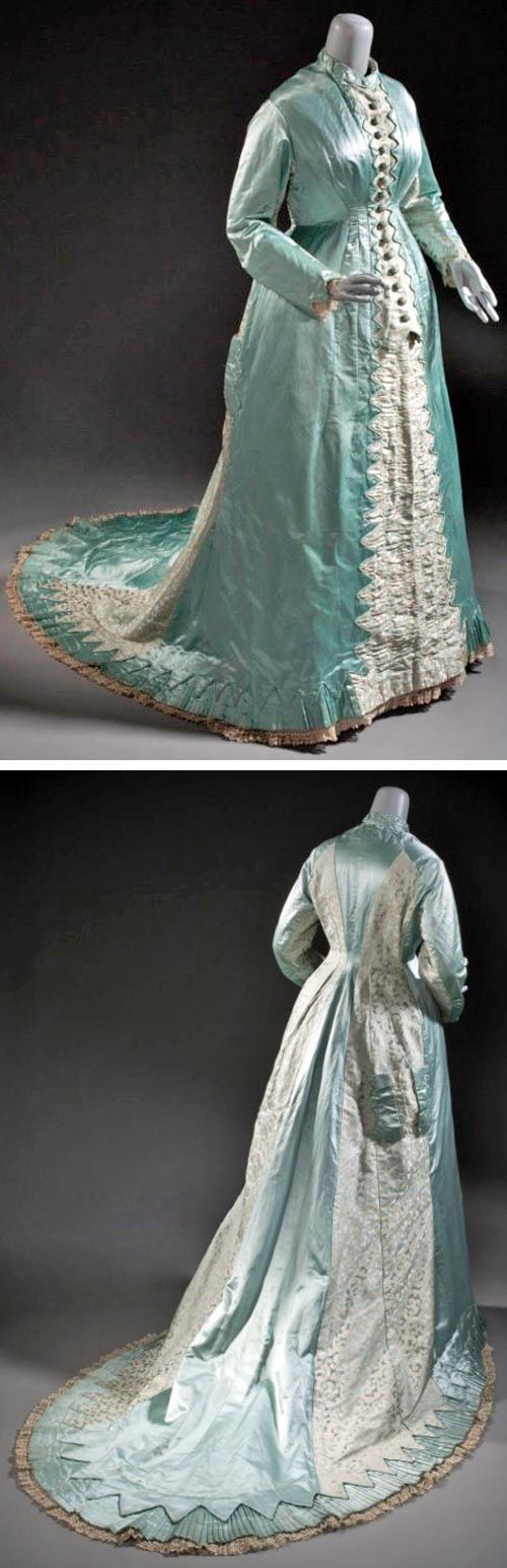 Tea Gown, Miss Bishop, England, late 1870s. Silk satin with supplementary weft patterning, linen machine-made lace, and silk plain weave trim. Los Angeles County Museum of Art