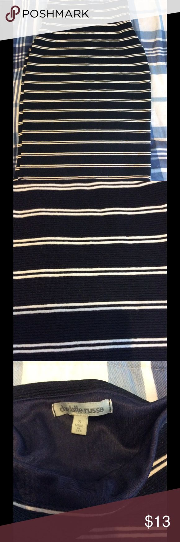 Navy and white striped pencil skirt From Charlotte Russe. Great condition, barely worn. For the office or date night. Charlotte Russe Skirts Pencil