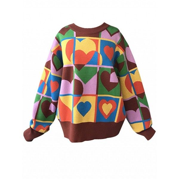 Choies Color Block Heart Pattern Long Sleeve Knit Sweater ($33) ❤ liked on Polyvore featuring tops, sweaters, multi, long sleeve sweater, extra long sleeve sweater, long sleeve knit sweater, colorblock sweaters and long sleeve tops