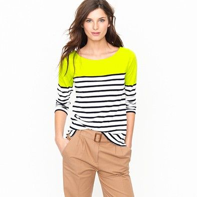 J.Crew Colorblock Stripe Boatneck Tee