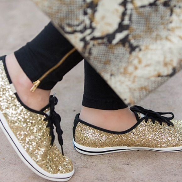 NWT Kate spade gold glitter sneakers Brand new Kate spade gold glitter keds! Discontinued, must have bloggers favorite kate spade Shoes Sneakers
