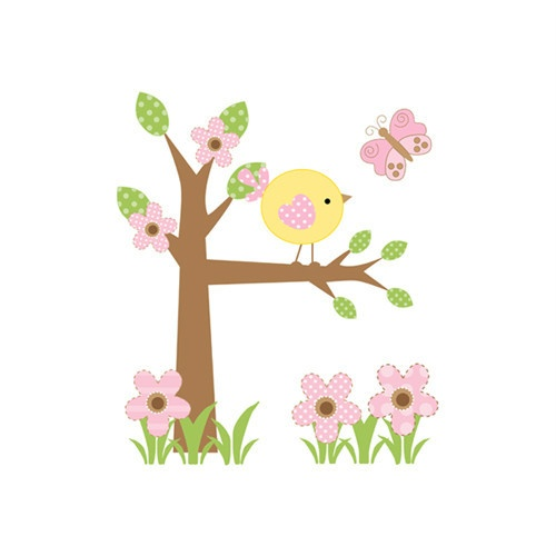 "Large Tree Wall Mural Pink Baby Girl Nursery Kids Room Butterfly Stickers Decor measures 38.25"" Tall and 33"" Wide; $43.99 #decampstudios"