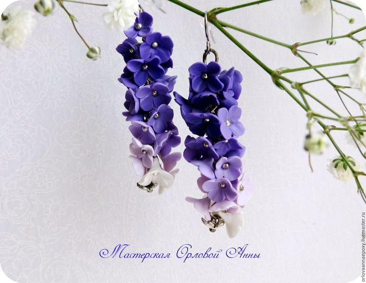 """Купить Серьги из полимерной глины """"Violet"""" - фиолетовый, Серьги-грозди, серьги-гроздья, длинные серьги"""