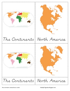 The Helpful Garden: FREE Continents Nomenclature Cards in D'nealian and Little Booklets