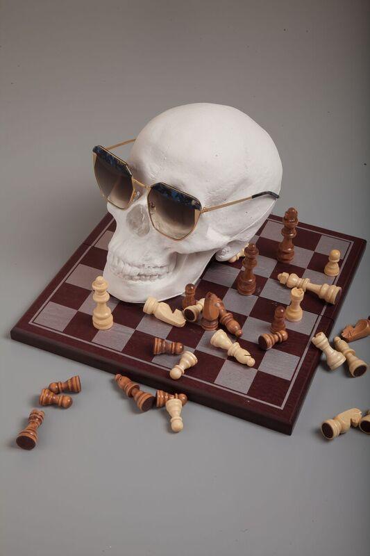 FOR ART'S SAKE SS17  SPOTLIGHT CHAMPAGNE  fasforartssake.com  /// still life /// chess board /// skull