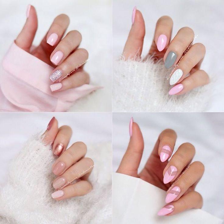 Jak widać lubię róż na paznokciach  Małe podsumowanie ostatnich prac  1,2,3 czy 4 ? Które wybieracie?  P.S Ale miałam opalone palce w lecie  #nails #nailswag #nails2inspire #inspo #manicure #mani #pink #nail #nailart #nailsdone #nailstagram #nailpolish #semilac #hybrid #knit