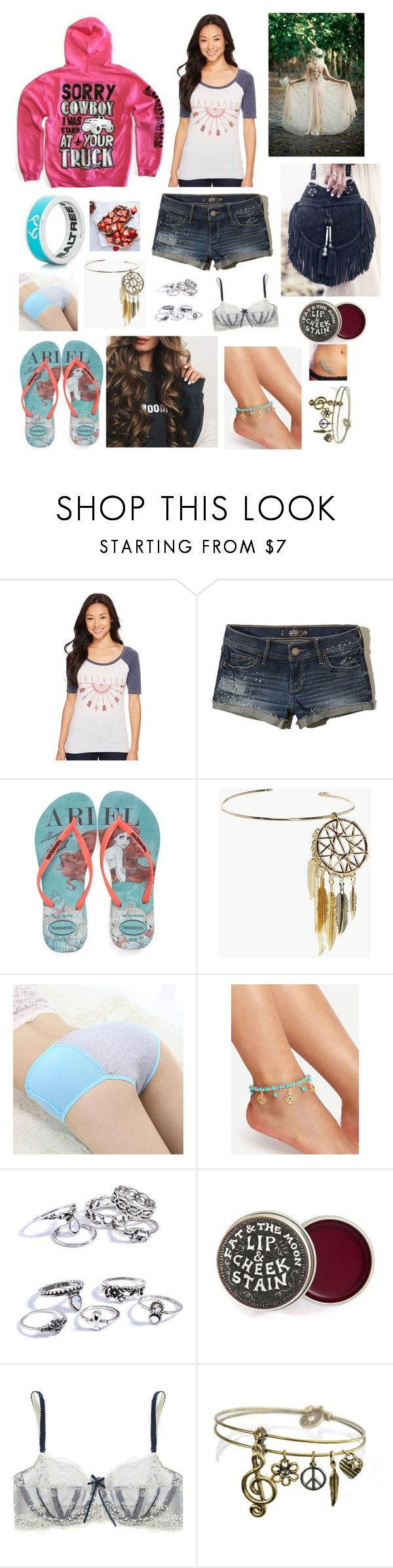 """""""Untitled #1313"""" by gigglyhemmo16 ❤ liked on Polyvore featuring Rock & Roll Cowgirl, Hollister Co., Havaianas, Victoria's Secret, Boohoo, Elle Macpherson Intimates and Sweet Romance"""