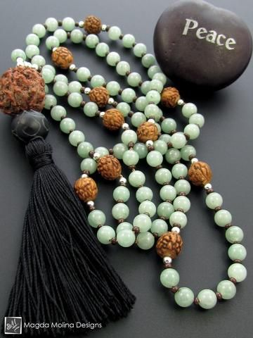 The Light Green Aventurine And Rudraksha MALA Necklace With Black Silk Tassel