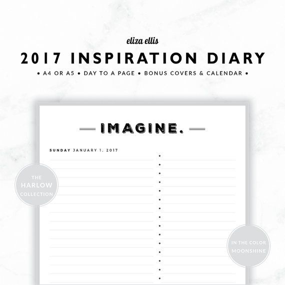 2017 A4 & A5 DAY TO A PAGE INSPIRATION PLANNER - THE HARLOW PLANNERS IN MOONSHINE  Live 2017 to the fullest with my inspirational day planner! Featuring one unique, inspiring word every single day, youll find it easy to live your best life this year!  > SPEND $20 AND GET 20% OFF!!! JUST USE CODE PERFECTPLANNER  > FEATURES  ▪️ simple design ▪️ generous notes area ▪️ bullet point list ▪️ unique inspirational word each day :bl