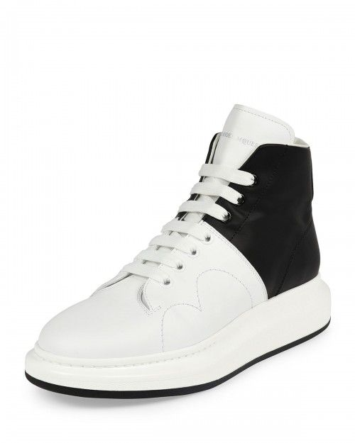 Alexander+Mcqueen+Colorblock+Leather+High+Top+Sneakers+Black+White+44eu+11us+|+Shoes+and+Footwear