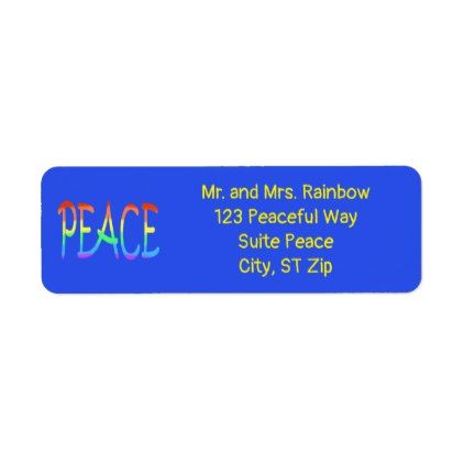 colorful rainbow peace word address labels labels customize diy