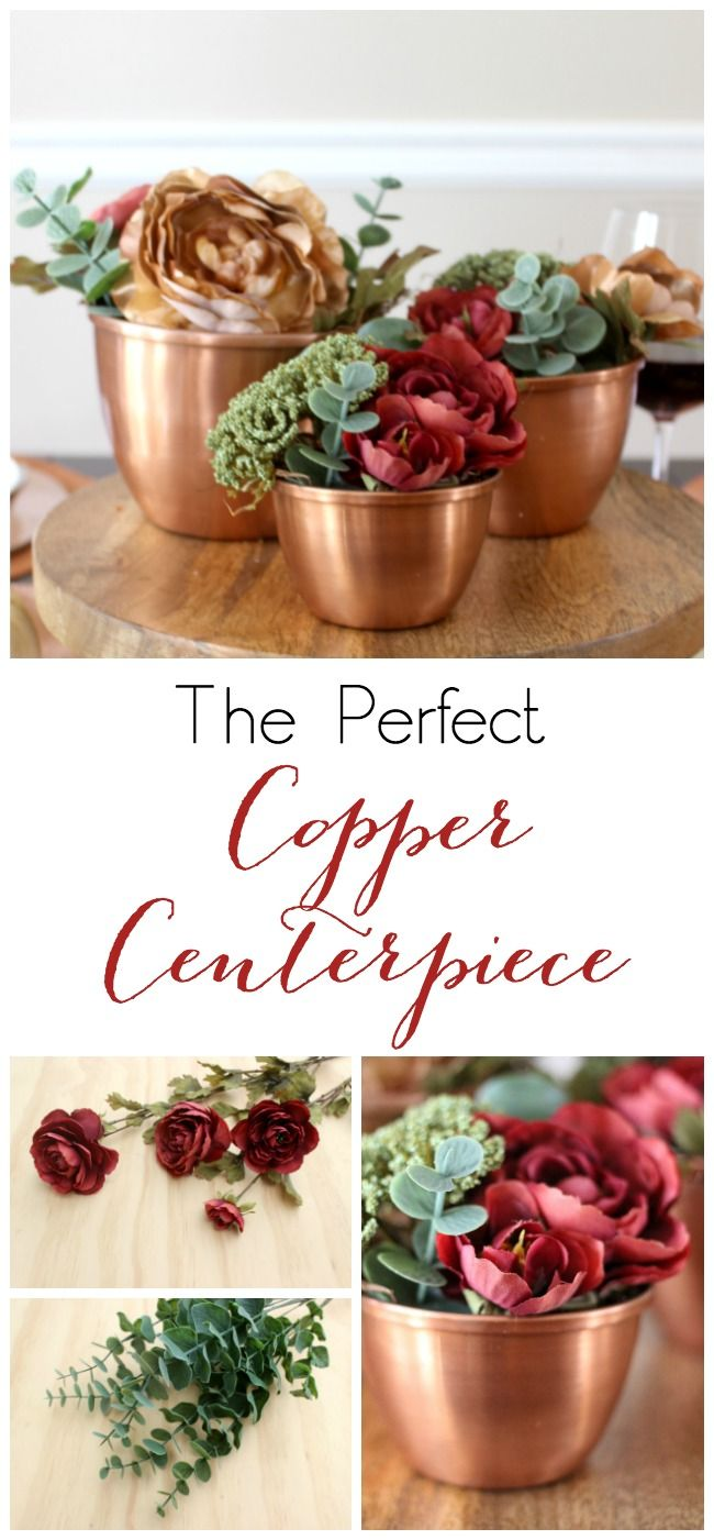 The Perfect Copper Centerpiece uses faux florals and pretty copper pots to make a unique centerpiece for your fall or Thanksgiving table.