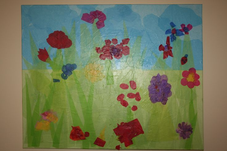 On going class mural. Each child has his/her flower or plant growing in our garden. Many more to come!