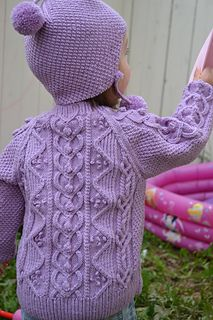 Heirloom Ring of Hearts Cable Child Sweater and Hat by Myong Stinson