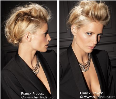 Up-style with a messy bun for a slightly punkish look http://www.hairfinder.com/hairstyles3/2012hairstyle4.htm