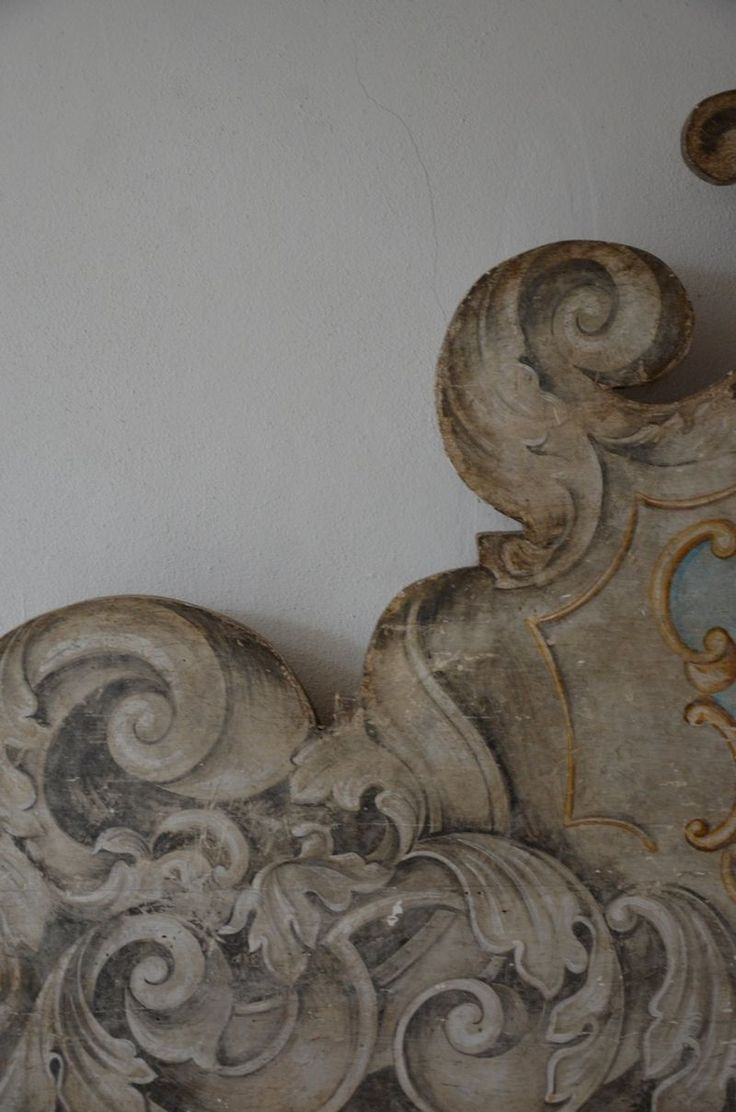 grisaille painted headboard