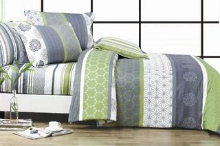 Artistic 100% Cotton Quilt Cover Set in Choice of Six Designs - Queen ($49) or King ($59)