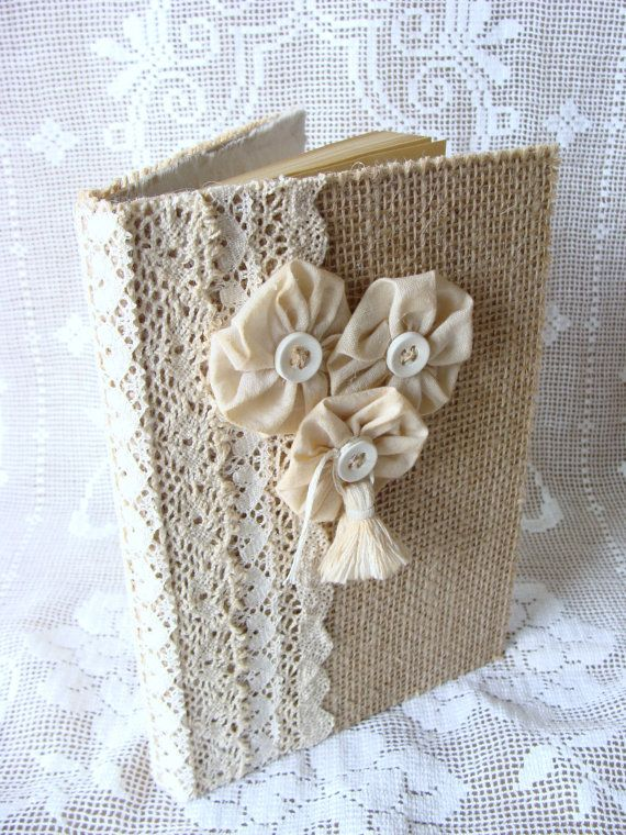 Burlap and Lace Guest Book Journal Diary Notebook Wedding Guestbook Prayer Journal Tattered Shabby handmade Fabric Flowers by ShabbySoul on Etsy